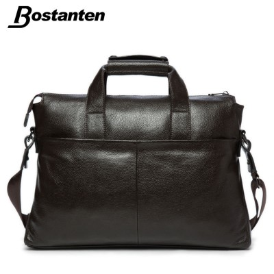 Bostanten 2019 Men Genuine Leather Briefcase Messenger Bags Men Bag For Notebook Nen Shoulder Bag Brand Leather Office Bags