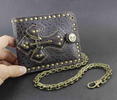 Men's Biker Punk Rock Skulls Cross Money Leather Wallet With A Chain W777
