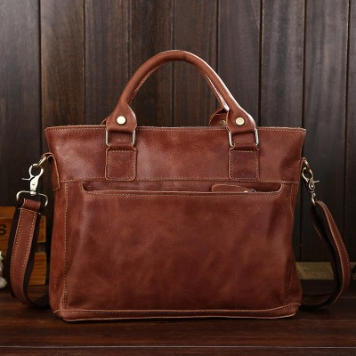 2019 New Arrival Satchels Totes 100% Genuine Leather Briefcases Crazy Horse Vintage Men Bag Cowhide Shoulder Top Quality Laptop
