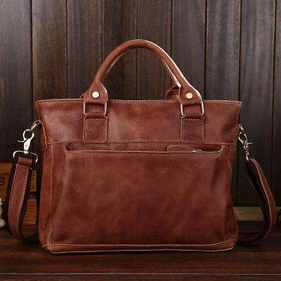2017 New Arrival Satchels Totes 100% Genuine Leather Briefcases Crazy Horse Vintage Men Bag Cowhide Shoulder Top Quality Laptop