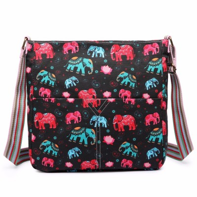 Miss Lulu Women Men New Pink Elephant Animal Print Canvas Messenger Cross Body Satchel Bag L1104NEW-E PK