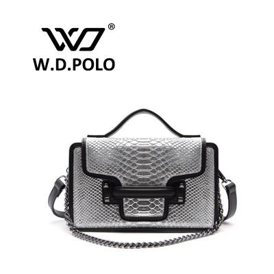 W.D.POLO Inset cover Crocodile leather handbag women snake line genuine leather handbag chain belt bag IT messenger bag M1661