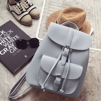 Trendy Female Drawstring PU Leather Backpacks Teenage Girls Small School Bags Women High Quality Casual Rucksack