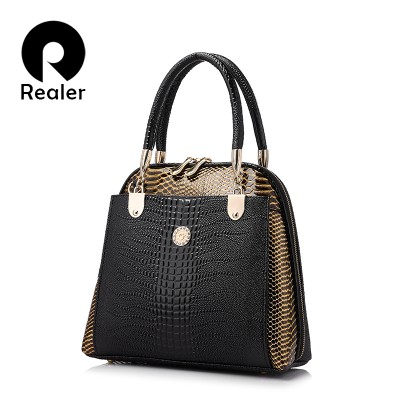 REALER brand bag women shell bag patent leather tote bag female serpentine pattern shoulder bags elegant handbags