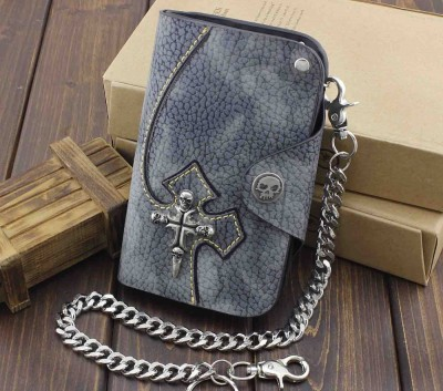 Gothic Hip Hop Punk Skulll Leather Chain Wallet With Long Keychain