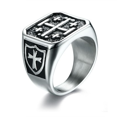 Jerusalem Cross Medieval Signet Ring for Men Solid Stainless Steel Vintage Knight Templar Military Jewelry Anel Aneis Masculinos