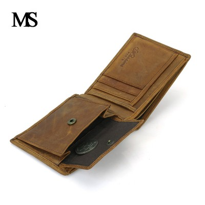 Real Leather Wallet Men Organizer Wallets Brand Vintage Genuine Leather Cowhide Short Purse Mens Wallet With Coin Pocket
