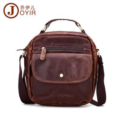 Vintage High Quality 100% Genuine Crazy Horse Leather Men's Messenger Bags Brown Small Crossbody Shoulder Satchels Bag Handbag