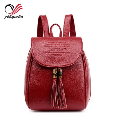 new vintage casual Mini small genuine leather travel bags high quality kids fashion women candy clutch tassel school backpacks