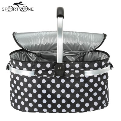 30L Foldable Picnic Basket Outdoor Insulated Storage Basket for Women Kids Men Lunch Picnic Bags Shopping 46*25*24cm