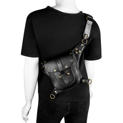 Punk Rock Women Motorcycle Bag Men Steampunk Chain Belt Waist Bags Moto Biker Shoulder Crossbody Bag Chest Pack for Man