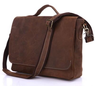 "2017 Top Real Hasp Solid Vintage Crazy Horse Leather Pure Handmade Men Handbags Genuine Messenger Bags Mens 14"" Laptop Bag"