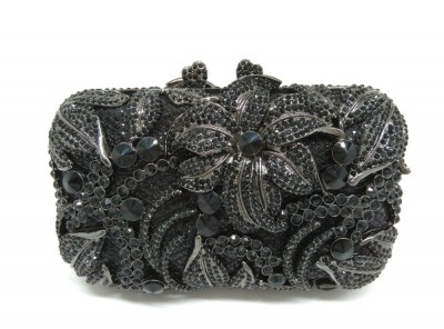 Gunmetal Floral Appliques Hollow Rhinestone Clutch Evening Bags Hard Case Metal Clutches Bag Wedding Party Crystal Handbags
