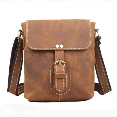 Italian Famous Brand Men Crazy Horse Leather Messenger Bag Male Genuine Leather Tote Bag Casual Handmade Sling Bag1066