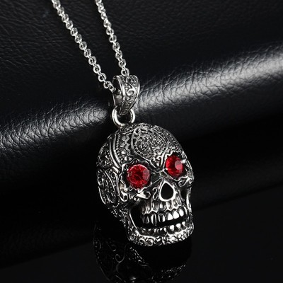 Mens Vintage Flower Skull Necklace Gothic Punk Stainless Steel Pendant Bike Jewelry Halloween Party Jewelry