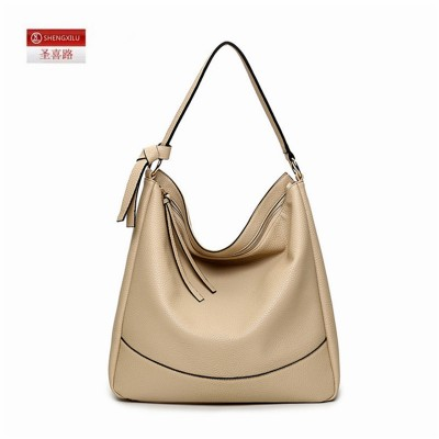 Shengxilu leather hobos women shoulder bag tassel black brand girls bags shop ladies handbags female big totes factory wholesale