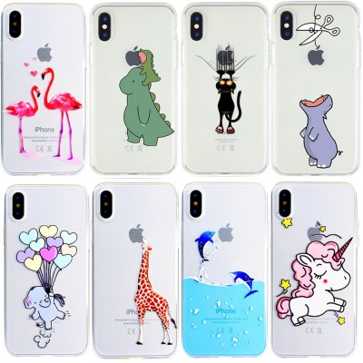 Cartoon Dinosaur Unicorn Flamingo Phone Case for iPhone X  XR Xs Max 7 6s 6 plus 8 plus Case Soft Cover