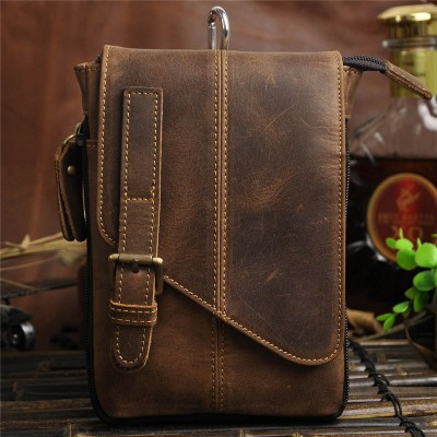 Leather Fanny Pack Vintage men small messenger bags 100% Genuine Crazy Horse Leather Casual waist pack bag shoulder bag fanny belt bag
