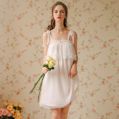 Camisole Night Skirt Woman Fairy Lace Camisole Sweet Girl Women Sleepwear Summer Nightgown Lace Nylon