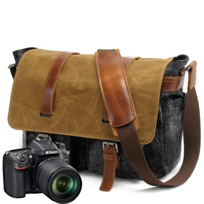 2019 Canvas Leather Crossbody Satchel  Bag Men Military Army Grey Vintage Messenger Bags Large Shoulder Bag Casual Travel Bags