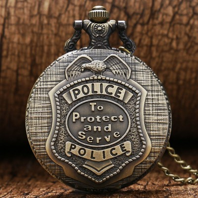 Vintage Bronze police to protect and serve Pocket Watches Women Men Laides Kids Steampunk Pocket Watch with Chain Pendant