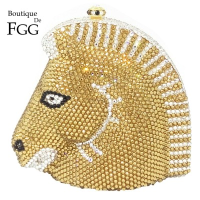 Bling Golden Horse Shape Women Evening Wedding Dinner Crystal Clutch Purse Ladies Hard Case Metal Clutches Shoulder Handbags Bag