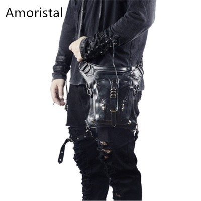 Waist Pack Mens Fashion Bag Multifunctional Mens Bag Steampunk Shoulder Crossbody Punk/Rock PU Leather Mens Purse H013