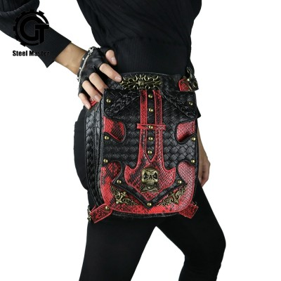 Vintage Red Skull Waist Bags Men Women Unisex Steampunk Messenger Bag Dot Rivet Travel Shoulder Bags Mobile Phone Fanny Packs