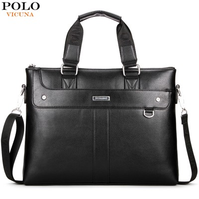 VICUNA POLO Brand Factory Sale High Quality Leather Men Briefcase 14inch Leather Men Handbag For Laptop Classic Business Man Bag