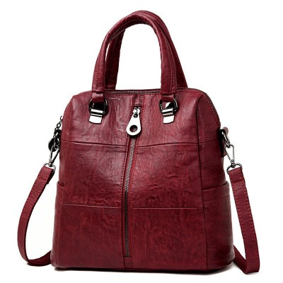 Women Leather Backpacks Vintage Female Shoulder Bag Travel Ladies Bagpack School Bags For Girls
