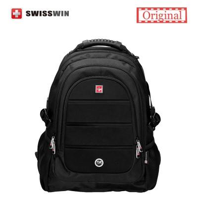 Swisswin Black Business Backpack Male Swiss Military 15.6 Computer Bag Mochila masculino Orthopedic Backpack sac a dos
