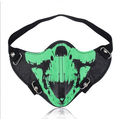 Fashion Motorcycle Punk Rock Men Face Mask Hip-hop Halloween Party PU Leather Mask Masquerade Cosplay Masks
