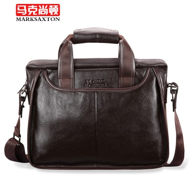 100% Cowhide men's business briefcase  Genuine leather man vintage cross-body one shoulder bag handbag  Luxury leather bags
