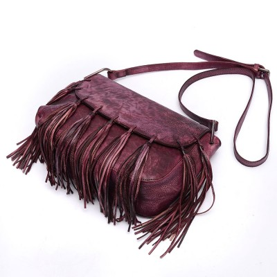 2017 New Real Genuine Leather Womens Messenger Vintage Shoulder Bag Female Cross-body Soft Casual Tassel Bags Small Satchel