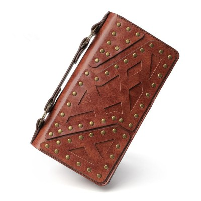 Punk Brown Women Men Clutch Wallets Steampunk Double Zipper Clutches Vintage Long Wallet Money Bag ID/Card Holder Purse
