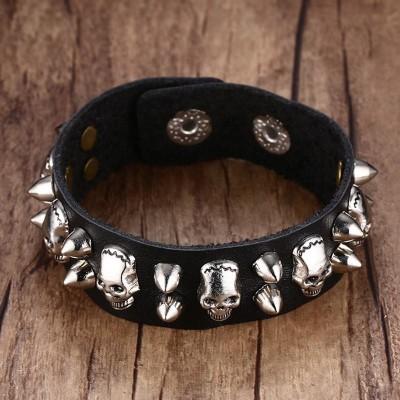 Mens Metallic Skull Spike Leather Cuff Bracelet for Men Belt Style Bangle Ajustable Black Bike Halloween Jewelry