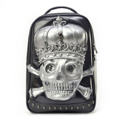 Gothic Steampunk Unique backpack cool bag steampunk fashion PU Leather 3D Skull for Macbook Laptop backpack High Quality PU Unisex bags Casual Laptop bags