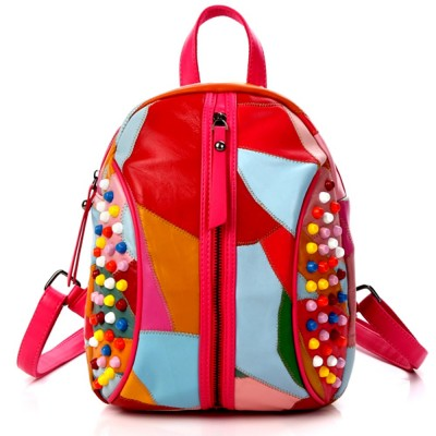 2019 NEW Small backpack women fashion Genuine Leather backpack Colorful punk style backpack for girls teens
