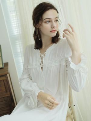 Summer Autumn Nightdress Woman Sleepwear White Loose Nightgown Court Retro Homewear Female