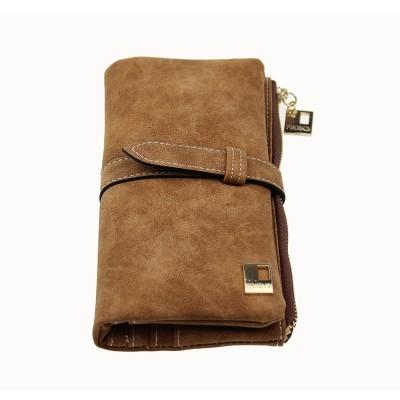 Famous Brand Long Purse Two Fold Women Wallets Drawstring Nubuck Leather Zipper Suede Wallet Ladies Clutch Bag