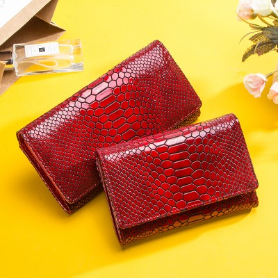 Luxury Brand Women Clutch Wallets Genuine Leather Snake Pattern Print Long Coin Purse Female Cell Phone Holder Bag