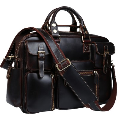 TIDING Large capacity handbag vintage style briefcase for men genuine leather 16' laptop bag 3062