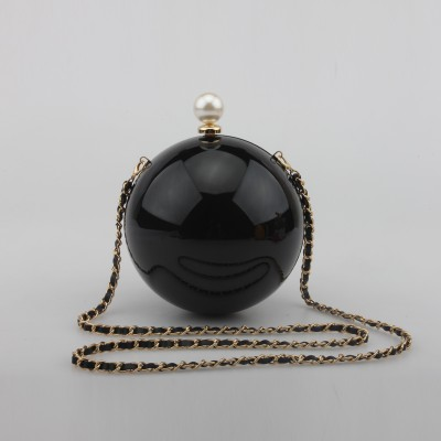 Round pearl women bag purse chain ball party clutches black gold purses bridal clutch perola white pink wedding handbag XA1111A