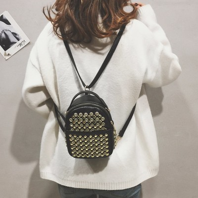 Fashion Cute Womens bag Women Backpack Female Mini Backpack Diamonds Rivet shoulder bag PU Leather Female Backpacks For Girls