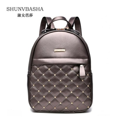 Women Backpacks 2019 Hot Sale Fashion Causal bags High Quality bead female shoulder bag PU Leather Backpacks For Girls,mochila