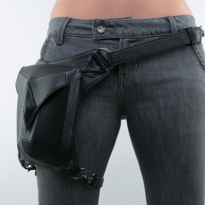 Top Quality PU Leather New Men Women Motorcycle Ride Drop Hip Leg Bag Messenger Shoulder Punk Rock Belt Waist Fanny Pack Purse