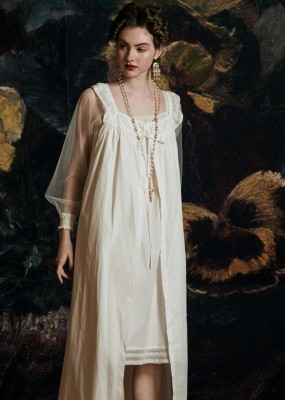 Elegant Long Gowns Cotton Nightgown Wedding Robe Sleepwear Ladies Queen Palace Robe Nightgowns