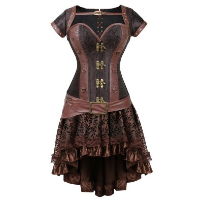 S-6XL Steampunk Corset Dress Burlesque Party Masquerade Gothic Vintage Lace Leather Bustier Overbust Corset Skirt Sets Plus Size