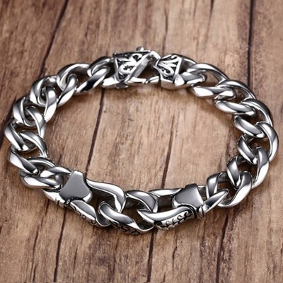 Mprainbow Male Heavy Stainless Steel Mens Fleur de Lis Curb Link Bangles Bracelet for Men Jewelry  8.5-inch