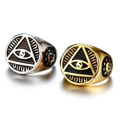 Mens Stainless Steel Ring Illuminati The All-seeing-eye Pyramid Symbol Gothic Bikers Male Rings for Men Religious Jewelry